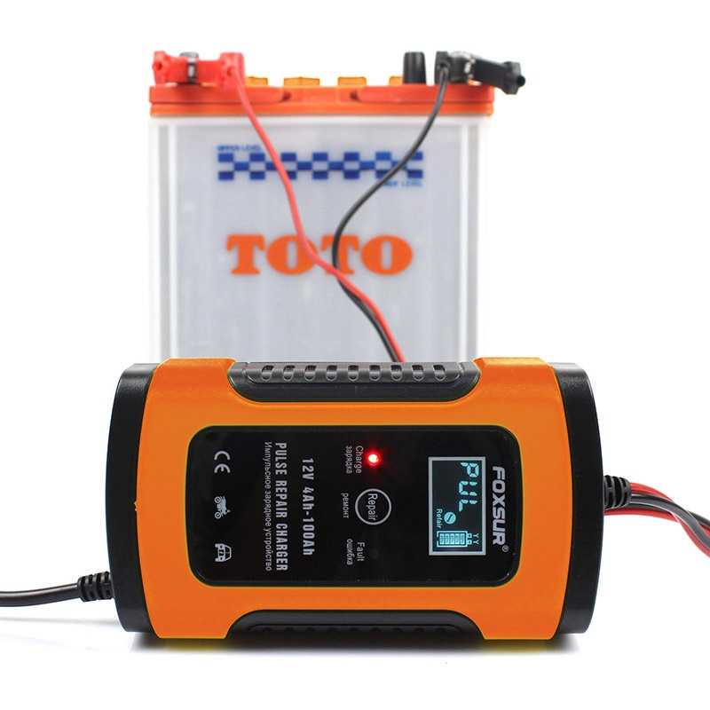 Hot Foxsur 12V Universal Battery Charger Repair Type 12Ah 36Ah 45Ah 60Ah 100Ah Pulse Repair Battery Charger Lcd Display——Eu Plug