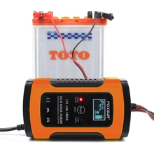 Hot Foxsur 12Vแบตเตอรี่เครื่องชาร์จประเภท12Ah 36Ah 45Ah 60Ah 100Ah Pulse Battery ChargerจอแสดงผลLcd Eu Plug