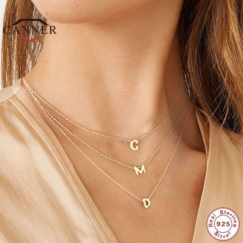 EINDOSER Echt 925 Sterling Silber 26 Brief Runde Choker Halskette Für Frauen Europäischen und Amerikanischen Minimalist Feine Schmuck