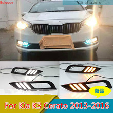 цена на CSGJMY Led Daytime Running Lights DRL fog lamp cover with Yellow Turning Signal Function For Kia K3 Cerato 2013 2014 2015 2016