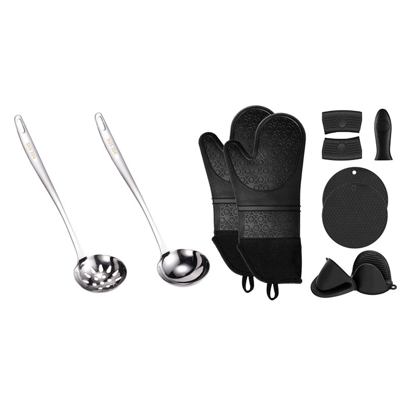 2 Pcs Slotted Spoon And Soup Ladle With Extra Long Silicone Oven Mitts And Pot Holders Sets