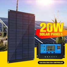 20W 12V 18V Solar Panel with battery Clip+10/20/30/50A Solar Car Charger Controller Solar Cells for Outdoor Camping Hiking(China)