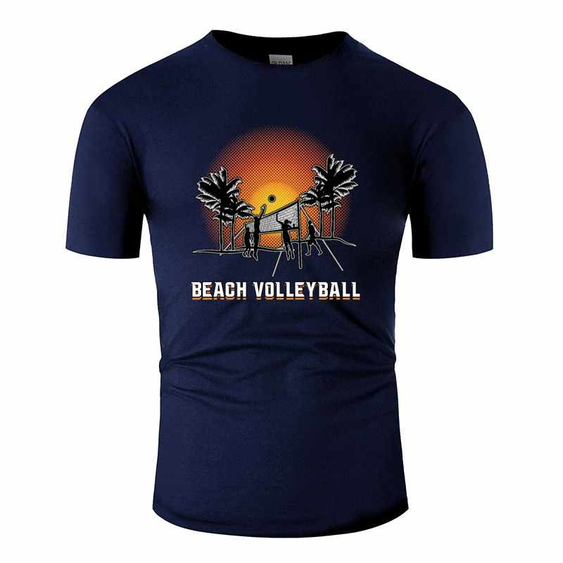 Print Beach Volleyball Men's T-Shirt Crew Neck Men's Tee Shirt Camisas Shirt 100% Cotton Hiphop
