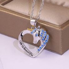 RongXing 925 Silver Filled Unicorn Pendant Necklaces For Women Blue Crystal Zircon Love Heart Necklace Female Fashion Jewelry(China)