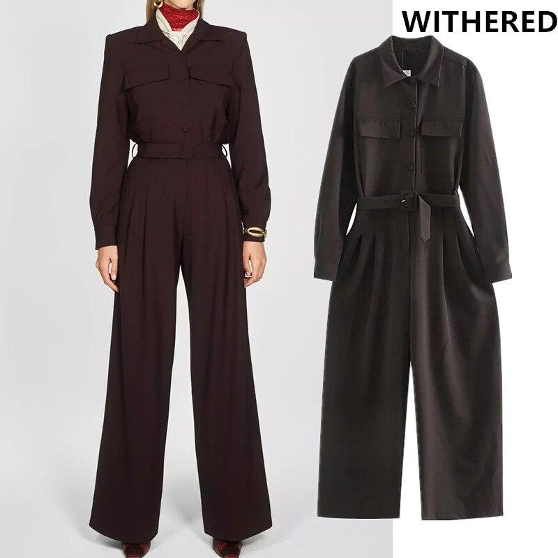 Withered England Style Urban Elegant Pockets Loose Sashes Cargo Jumpsuit Women Combinaison Femme Combinaison Femme Plus Size