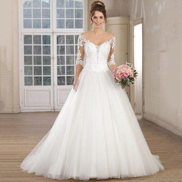 Princess Ball Gown Wedding Dress V Neck Off The Shoulder Half Sleeve Custom Made White Ivory Tulle Bridal Gown Vestidos De Novia