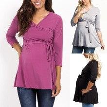 CYSINCOSIS Maternity Dresses Solid Women Dress Tunic Breastfeeding Autumn Maternity Dress Nursing Dress Hamile Elbise
