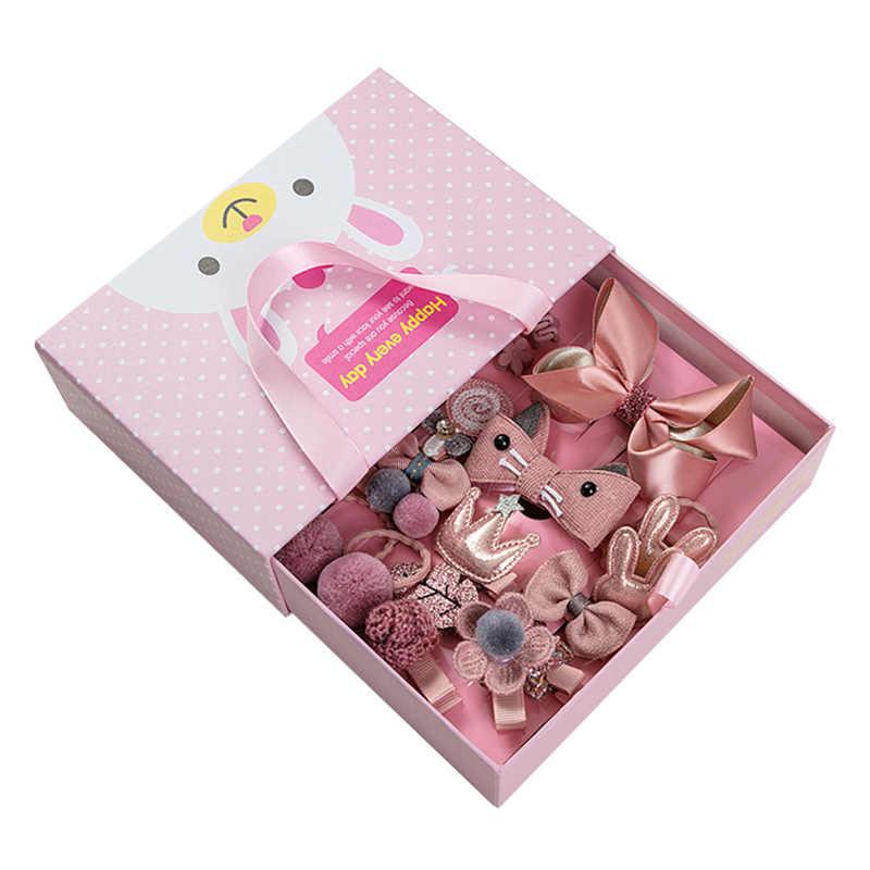 לערבב 18 יח'\קופסא סרט קשת ארנב ילדי סיכות חמוד Cartoon שיער קליפ אביזרי בנות נסיכת כתר בארה 'ב סיכת מתנה