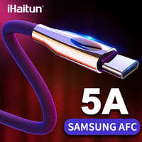 iHaitun USB Type C Cable For Samsung Galaxy S10 S9 S8 Note 10 A50 usbc Data 3.0 3.1 Quick Charge 4.0 Light Fast Charger Phone C
