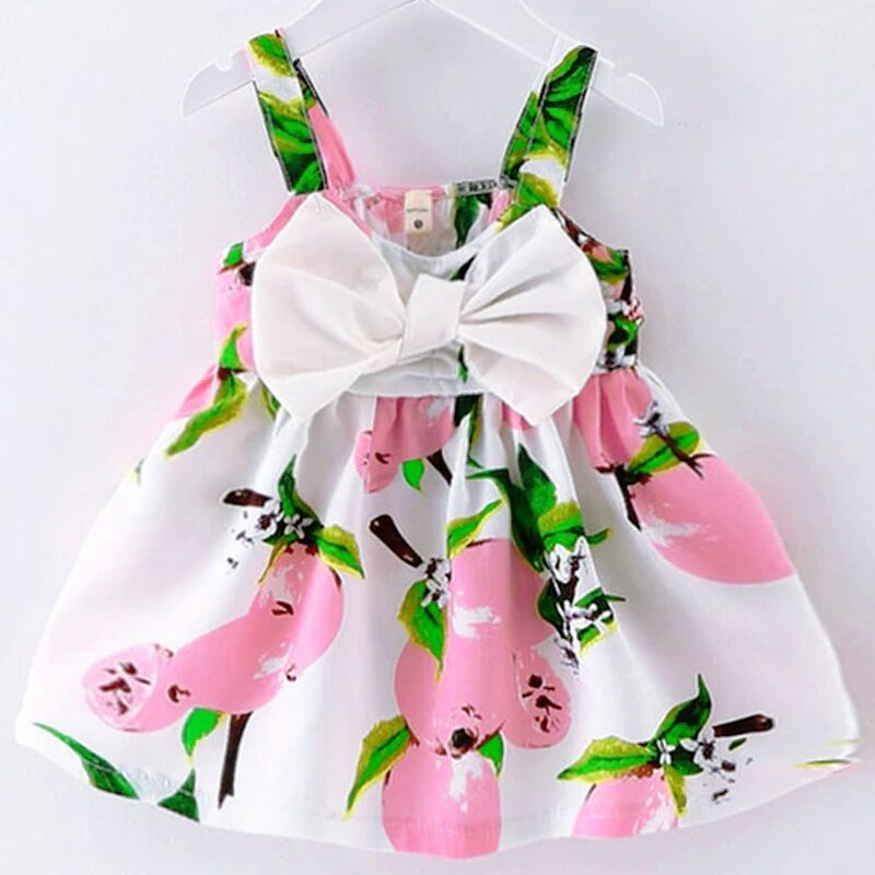 Children's Wear 2018 New Summer Dress Infant Fashion 100% Cotton Cute Flying Sleeves Small Striped Bow T-shirt Female Baby Dress
