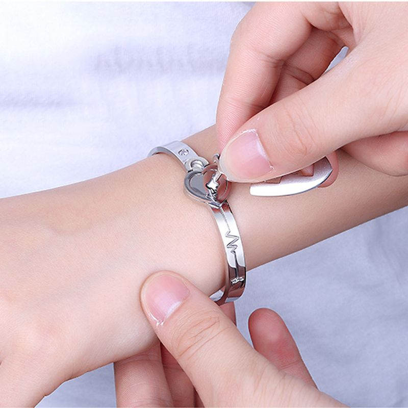 Titanium Puzzle Couple Heart Lock Key Couple Bracelet Necklace Lover(China)