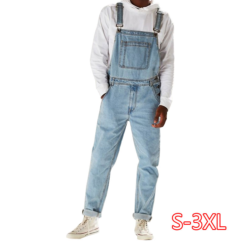 Men Casual Jeans Denim Strap Jean Jumpsuit Loose Fitting Sleeveless Casual Feminino Overalls Dungarees Playsuit 2020