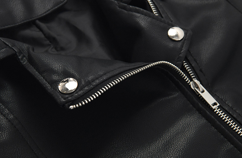 [EAM] Loose Fit Black Pu Leather Belt Short Jacket New Lapel Long Sleeve Women Coat Fashion Tide Spring Autumn 2020 1Z558 4