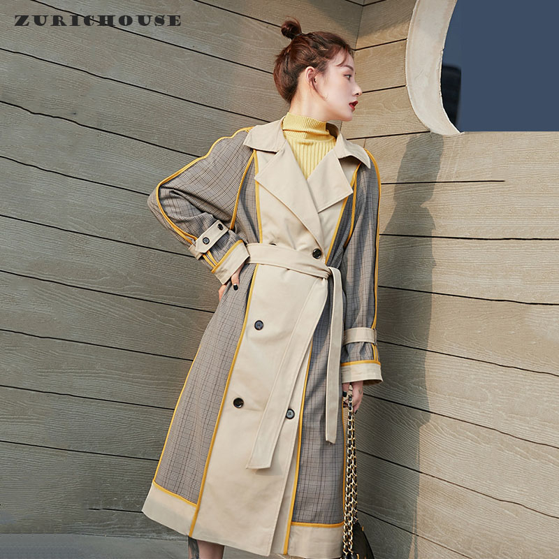 ZURICHOUSE 2020 Spring Coat Woman Long Fashion Double-breasted Hit Color Plaid Windbreaker Loose Fit Bandage Trench Female