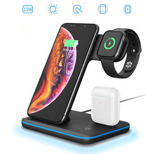 15W 3 ב 1 צ 'י אלחוטי מטען Stand עבור Iphone 11 XR 8 בתוספת אפל שעון IWatch 4 3 2 1 עבור Airpods מהיר טעינת Dock תחנה(China)