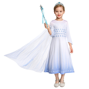 Vestido MUABABY blanco Elsa 2 princesa con capa desmontable niños de manga larga Snow Queen Frocks Girl disfraz de fiesta de Halloween