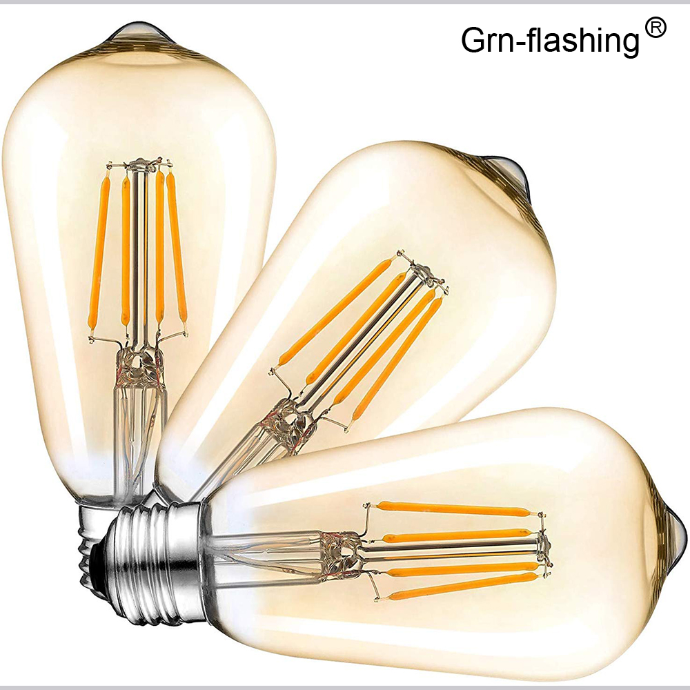 Edison LED Bulbs ST64 4W 6W 8W LED Filament Vintage Antique Retro Lights AC220V Amber Gold Tint/white For Indoor Home Lighting