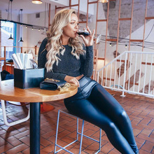 Melody Women Pants Zipper Fly High Waist Faux Leather Pants Winter Warm Pu Leather Pants With Fleece Lined