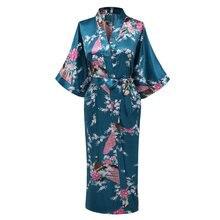 Büyük boy 3XL yeni koyu yeşil düğün gelin nedime Robe saten Rayon bornoz gecelik kadınlar Kimono pijama çiçek