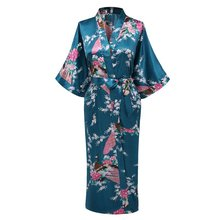 Oversize 3XL New Drak Green Wedding Bride Bridesmaid Robe Satin Rayon Bathrobe Nightgown For Women Kimono Sleepwear Flower
