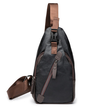 Weysfor Leather Chest Pack Travel Hiking Messenger Shoulder Bags Men's Large Capacity Sling Crossbody Bag Solid Men Leather Bag new men genuine leather first layer cowhide high capacity travel cross body shoulder messenger sling chest day pack bag