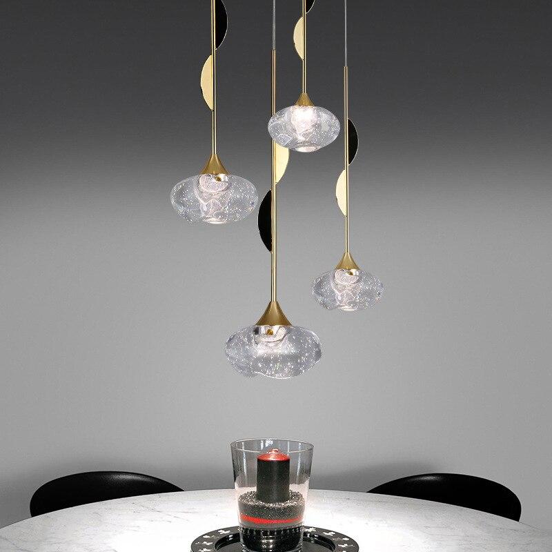 Moderna Bola de Vidro Luzes Pendentes Para Sala De Jantar Home Indoor Jogos De Cozinha Pendurado Lâmpada Bar Restaurante Decoração Luminaire Luster