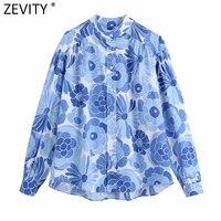 Zevity nuevas mujeres Vintage Collar azul Floral impresión blusa de mujer de manga larga Kimono Chic camisa de Blusas Tops LS9334