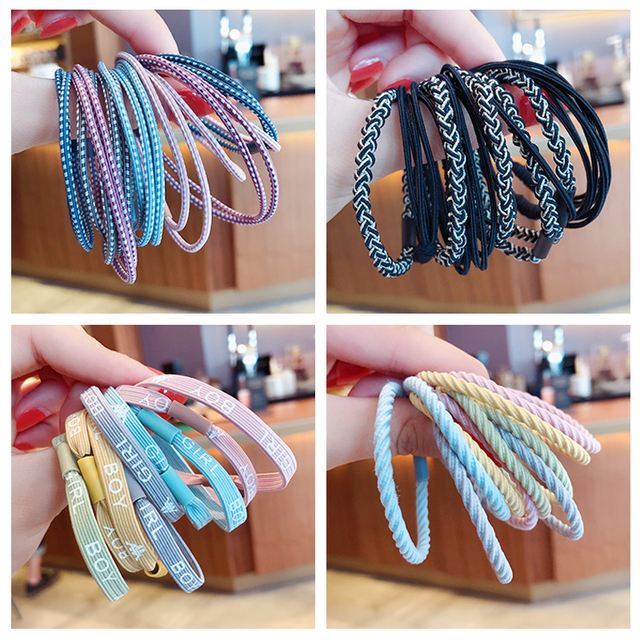 10/50/100 Pcs/Set Women Girls Sweet Colors Soft Elastic Hair Band Lady Solid Scrunchies Rubber Bands Female Hair Accessories 5