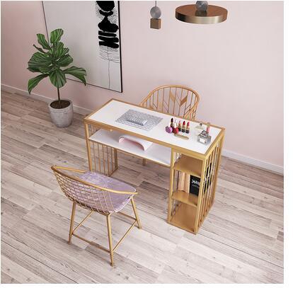 Net vermelho estilo europeu ouro manicure mesa e cadeira conjunto único duplo diamante ferro duplo plataforma mesa de manicure sofá cadeira