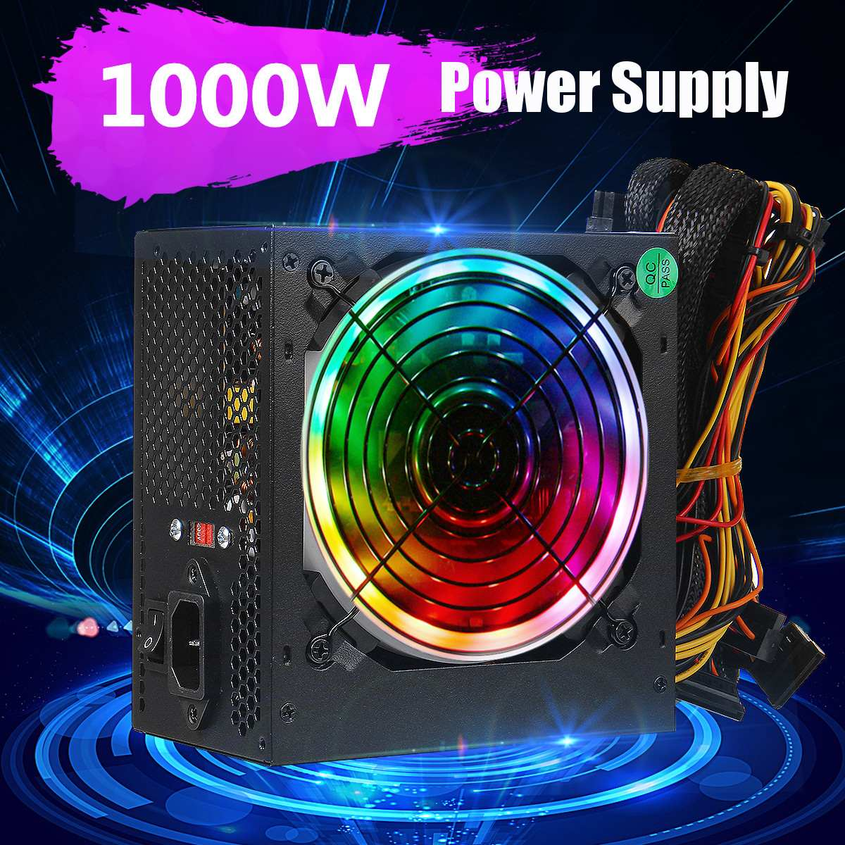 1000W Power Supply 12cm Multicolor LED Fan Passive PFC Silent Fan ATX 24 pin 12V PC Computer SATA Gaming PC Power Supply