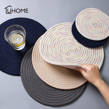 1pc Round Placemat Coaster Table Mat Cotton Linen Knitting Bowl Insulation Pad Non Slip Place Mat Kitchen Accessories Decoration non slip bar rubber mat pvc pad coaster kitchen placemat bar rectangle mat cup mug set beer whiskey waterproof bar accessories