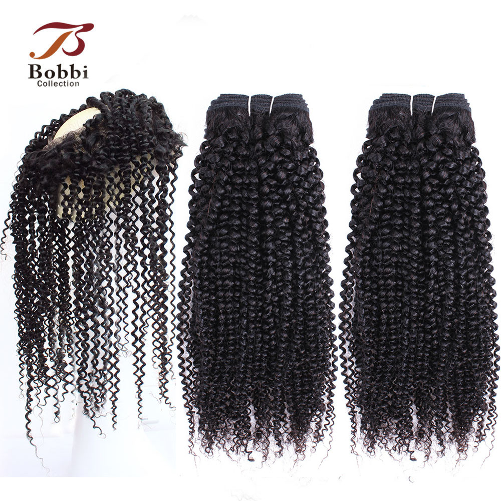 BOBBI COLLECTION Afro Kinky Curly Hair Bundles With Frontal 360 Lace Frontal With Bundle Brazilian Non Remy Human Hair Extension