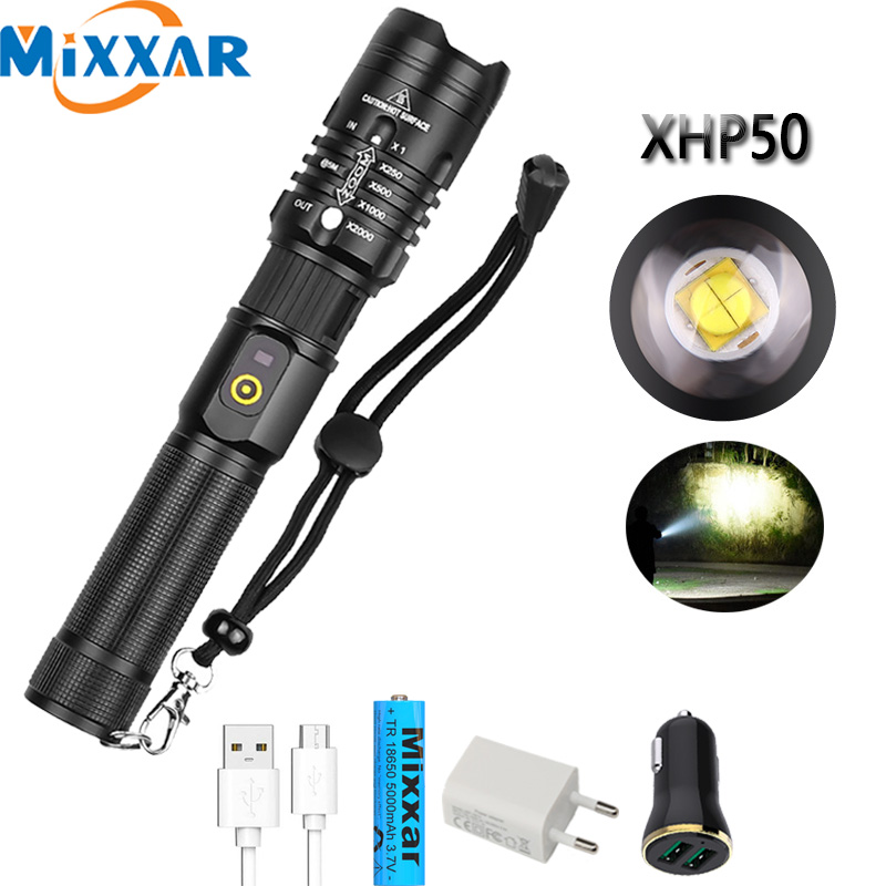 Dropshipping LED XHP50.2 Flashlight USB Rechargeable Zoomable 30000LM Super Bright Lantern Torch Camping Powerful Light Lamp