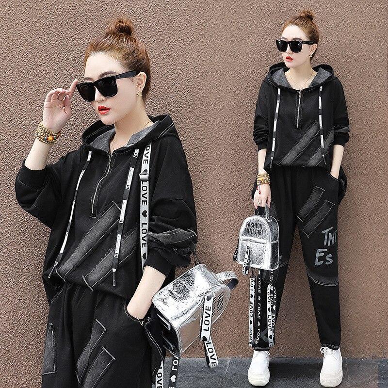 Max LuLu 2020 estilo chino primavera moda señoras Patchwork chándales mujeres sudaderas con capucha y pantalones Harem mujer conjuntos de 2 piezas - 2