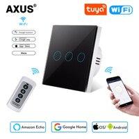 AXUS estándar de la UE 1/2/3 pandilla 1 manera WiFi pared Interruptor táctil para luz Tuya vida inteligente de Google para Google casa Alexa Control de voz necesita neutral