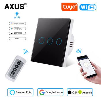 AXUS EU Standard 1/2/3 Gang 1 Way WiFi Wall Light Touch Switch Tuya Smart Life for Google Home  Alexa Voice Control Need neutral kamanni wifi touch light switch google home control 2 gang 1 way black golden white grey 4 colors optional 1 2 3 gang 1 way 220v