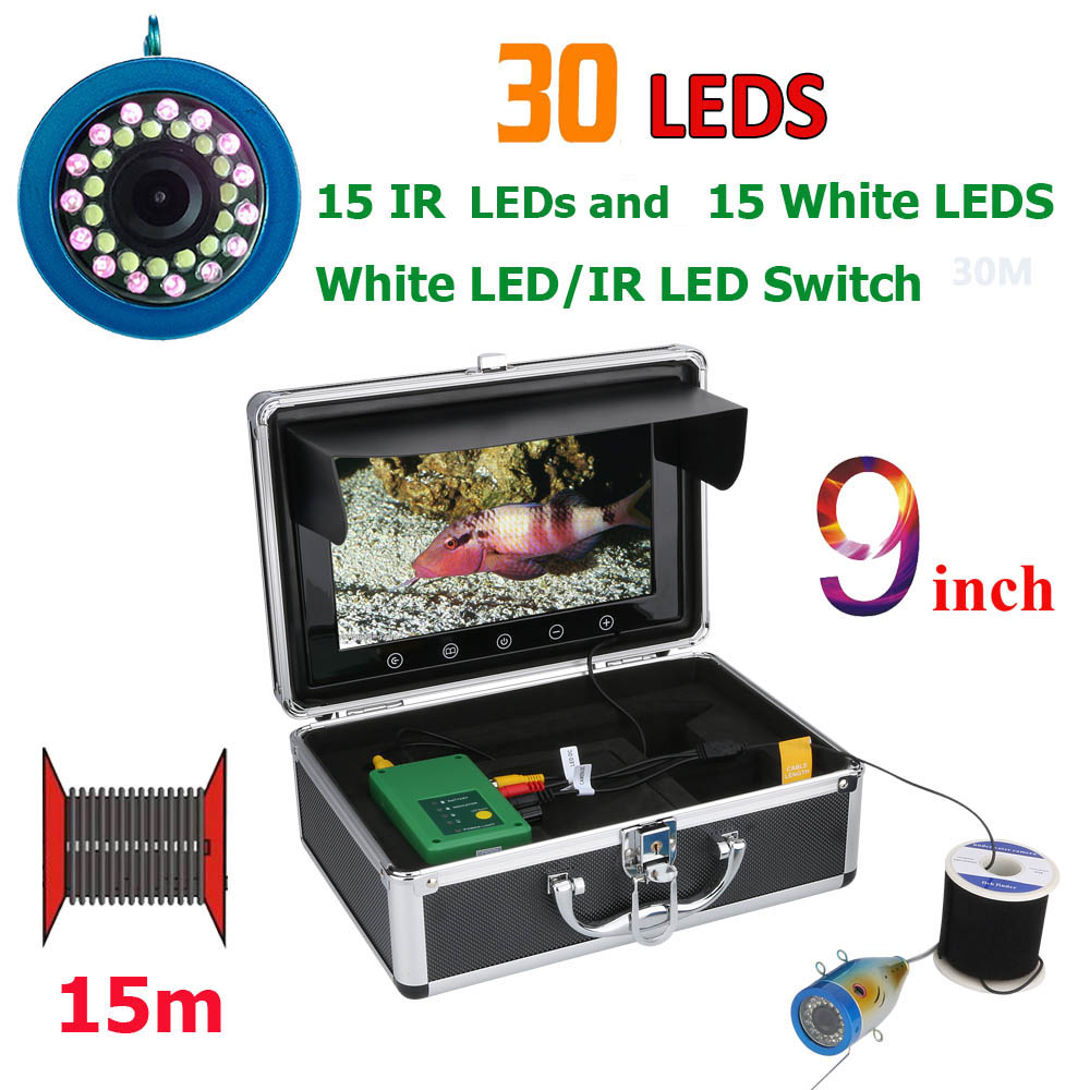 9 Inch 15M 1000TVL Fish Finder Underwater Fishing Camera 15pcs White  LEDs + 15pcs Infrared Lamp For Ice/Sea/River Fishing