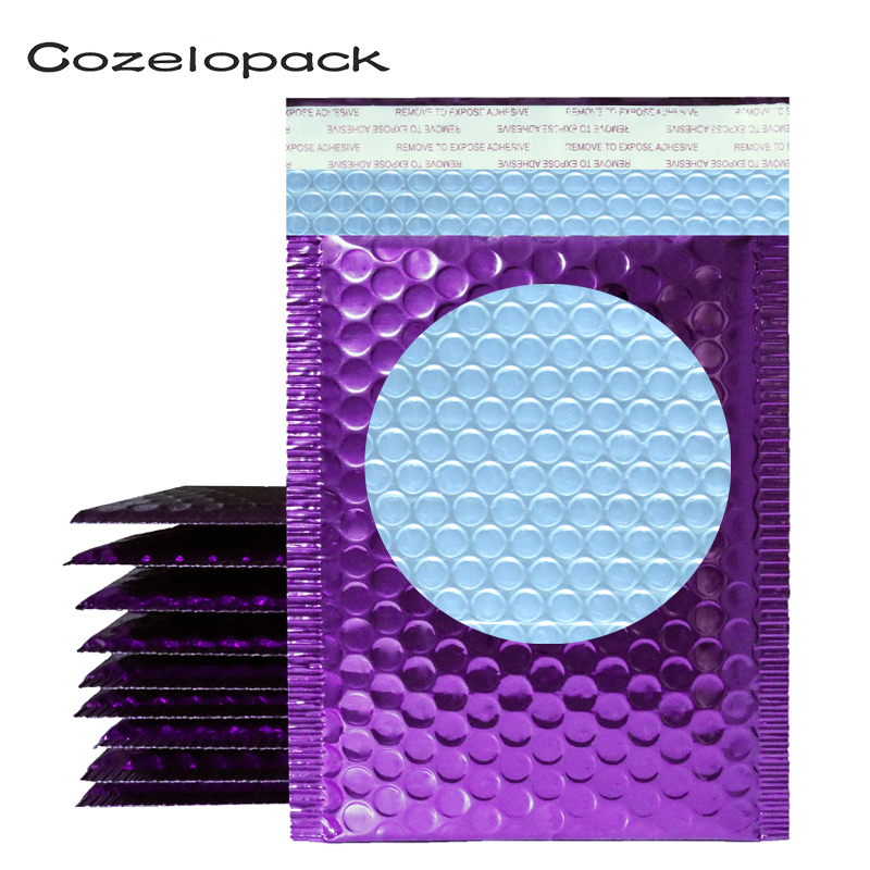 50PCS Purple Metallic Bubble Mailer Foil Bubble Bags Aluminized Postal Bags Wedding Bag Gift Packaging Padded Shipping Envelopes