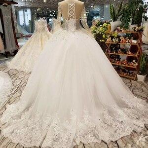 Image 2 - LSS029 свадебные платья с блесткамитяжелое кристаллическое красивейшее платье венчания быстро грузя о шею длиннюю втулку зашнуруйте вверх назад дешевое просто платье 2018 от фарфора