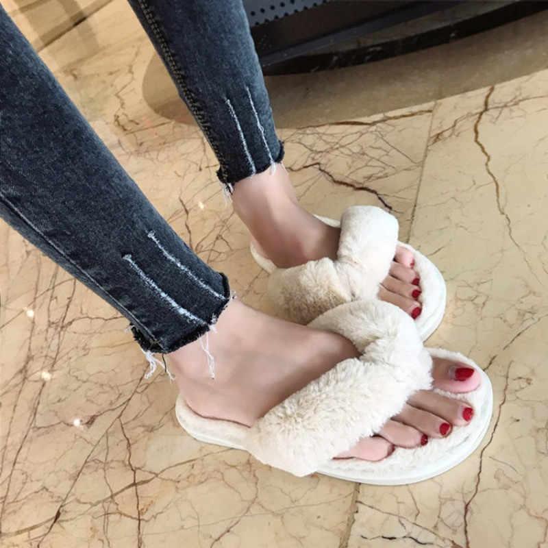 Mùa Đông 2019 Thời Trang Nữ Dép Đi Trong Nhà Lông Thú Giả Ấm Giày Người Phụ Nữ Slip On Đế Bằng Nữ Lông Dép Hồng Plus size 36-41
