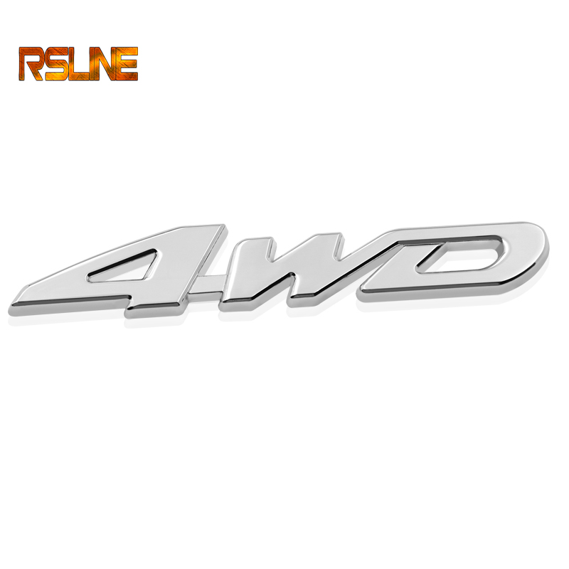 Car Styling 3D Metal Sticker 4WD  3D Chrome Car Vehicle Tailgate All Wheel Drive Auto Sticker Trunk Lid Emblem Badge Decal