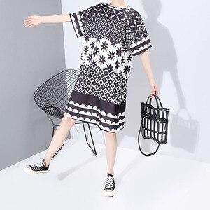 Image 5 - Neue Frauen Plus Größe 2020 Multicolor Gedruckt Midi Kleid Geometrische Muster Damen Stilvolle Lose Gerade Kleid Vestidos 5983