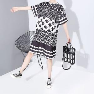 Image 5 - New Women Plus Size 2020 Multicolor Printed Midi Dress Geometrical Patterns Ladies Stylish Loose Straight Dress Vestidos 5983
