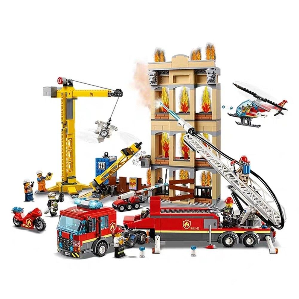 985 pièces ville arctique center-ville pompiers échelle camion grue hélicoptère 11216 Figure blocs jouets compatibles avec lepining City