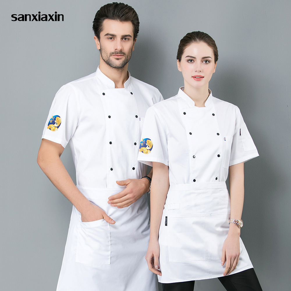 Short Sleeved Chef Uniforms Breathable Hotel Kitchen Cooker Work Shirts Chef Jacket Food Service Work Clothes Men And Women New