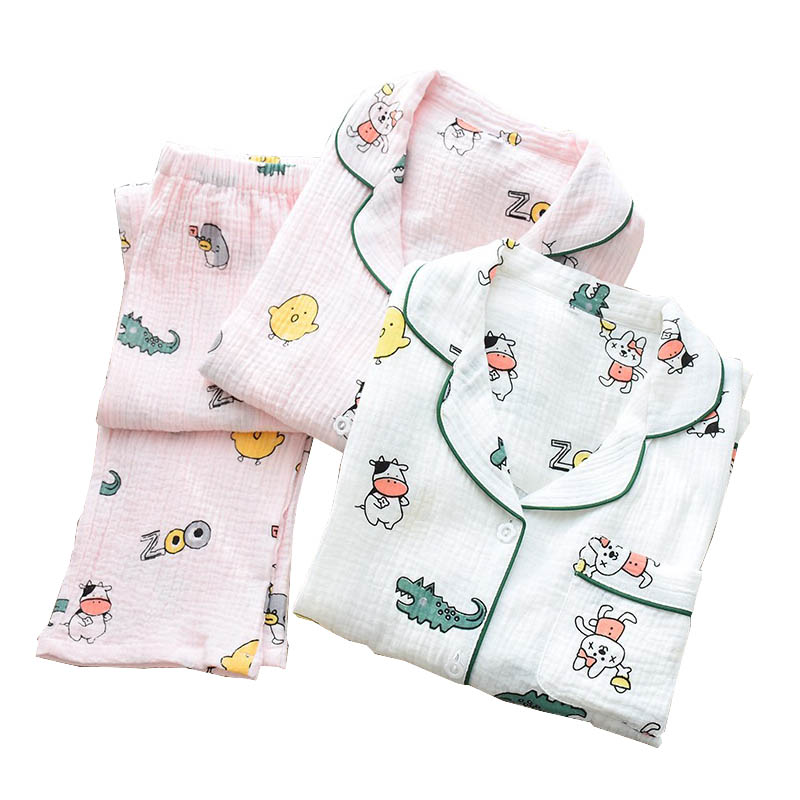 2020 Spring And Fall Ladies Cute Cartoon Dinosaur Printed Sleepwear Women Comfort Gauze Cotton Pajamas Set Loose Thin Homewear