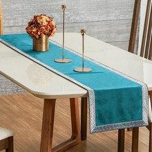 Chemin de Table en sarcelle moderne géométrique de luxe, tissu rectangulaire doux, décoration de Table à manger pour fête de mariage