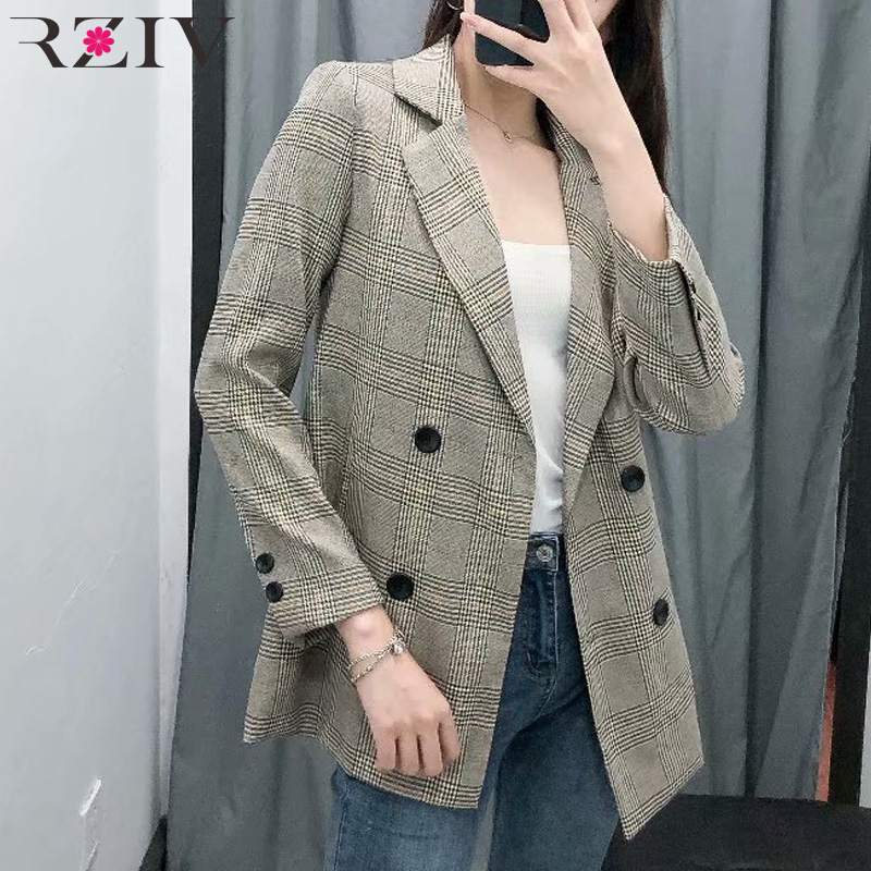 RZIV Autumn and winter women's suit casual plaid double-breasted retro suit