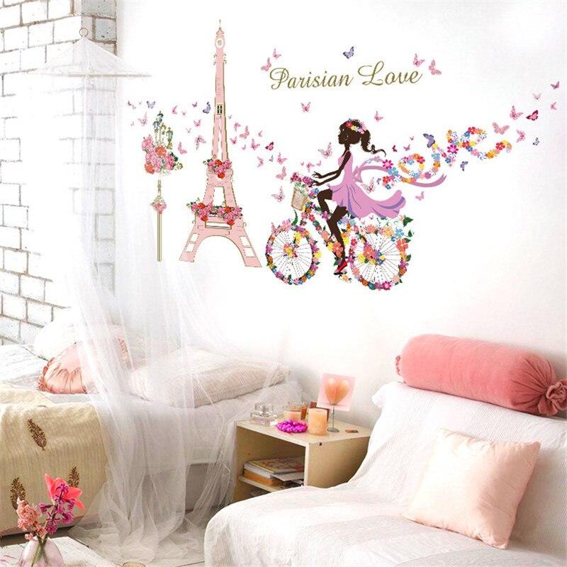 Romantic Paris Wall Sticker For Kids Rooms Eiffel Tower Flower Butterfly Fairy Girl Riding Wall Art Decal Home Decor Mural