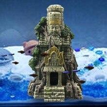 Templo vietnamita tanque de peixes paisagismo ornamento simulação artesanato decorações de aquário entretenimento de peixes escondendo lugar elegante